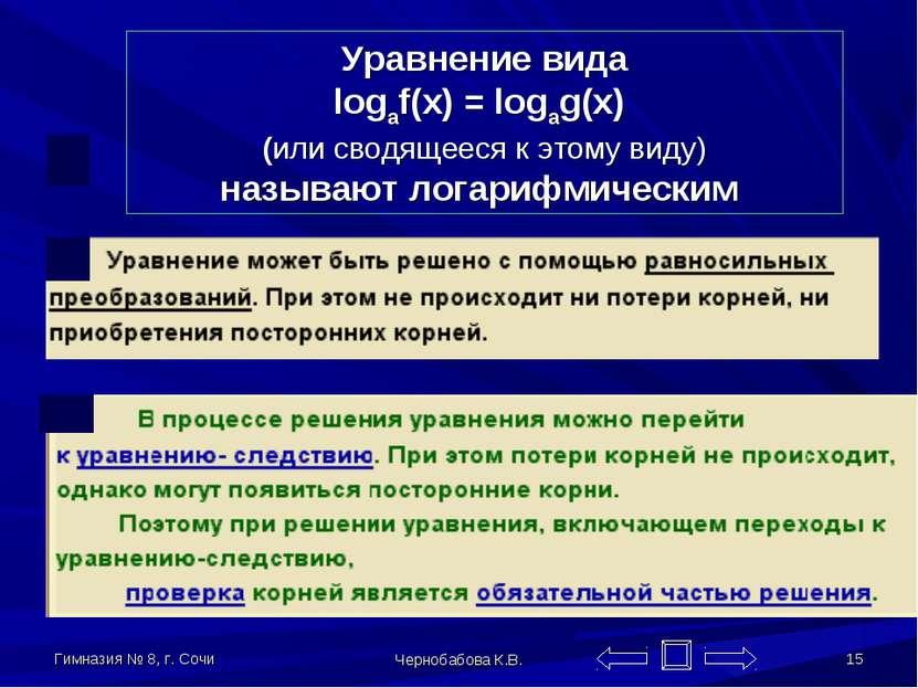 Гимназия № 8, г. Сочи Чернобабова К.В. * Уравнение вида logaf(x) = logag(x) (...