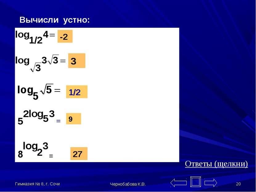 Гимназия № 8, г. Сочи Чернобабова К.В. * Вычисли устно: -2 3 1/2 9 27 = = Отв...