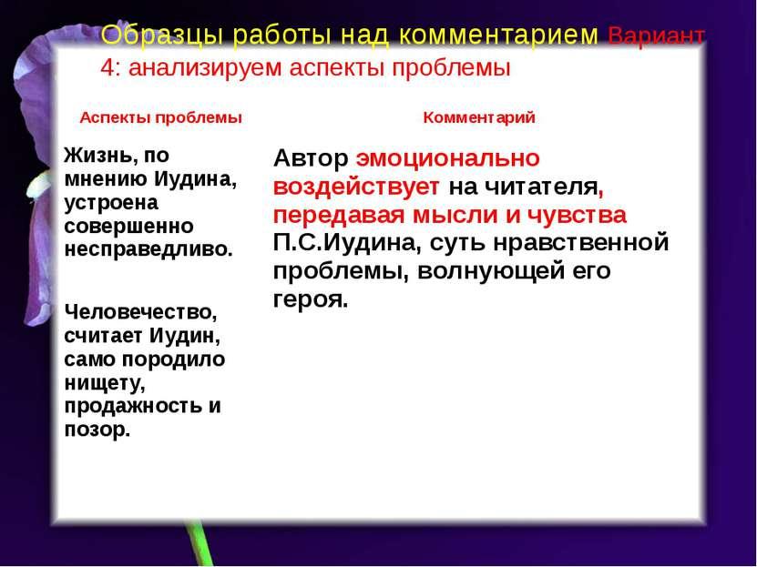 Образцы работы над комментарием Вариант 4: анализируем аспекты проблемы Аспек...