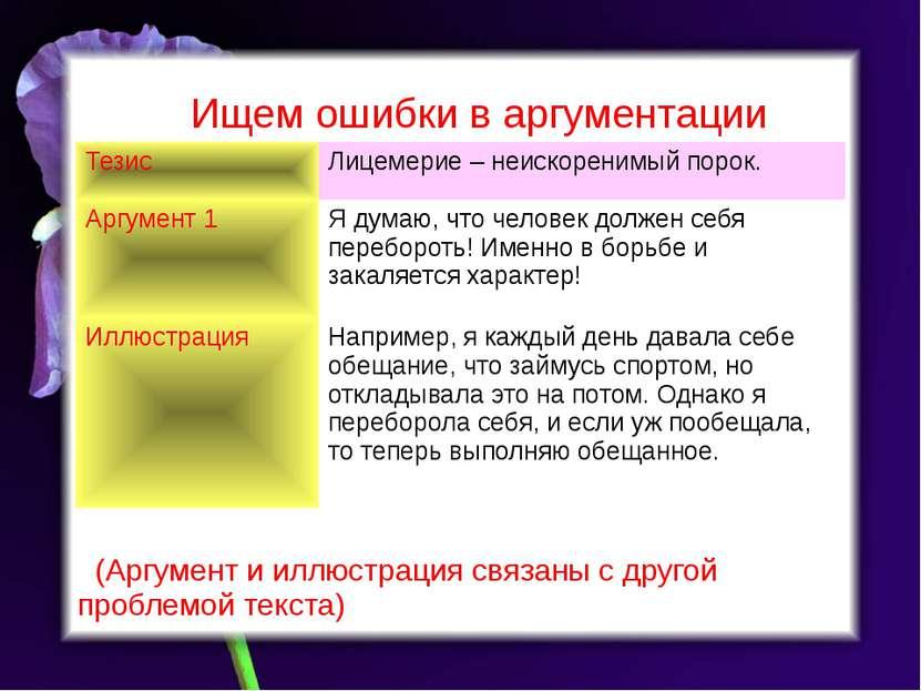 Ищем ошибки в аргументации (Аргумент и иллюстрация связаны с другой проблемой...
