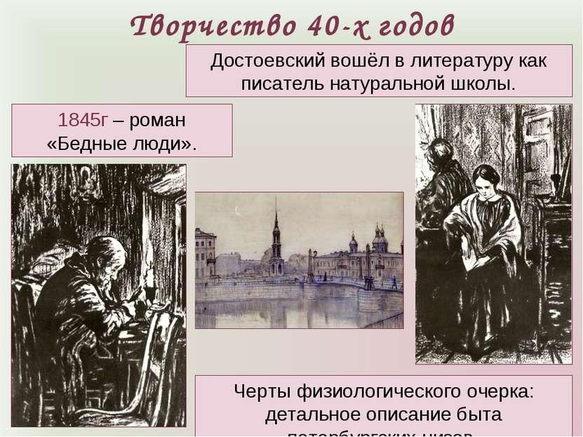 Творчество 40-х годов 1845г – роман «Бедные люди». Достоевский вошёл в литера...