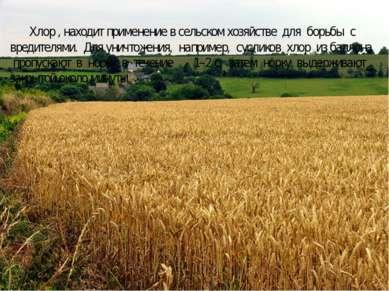 Хлор , находит применение в сельском хозяйстве для борьбы с вредителями. Для ...