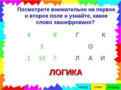 Посмотрите внимательно на первое и второе поле и узнайте, какое слово зашифро...