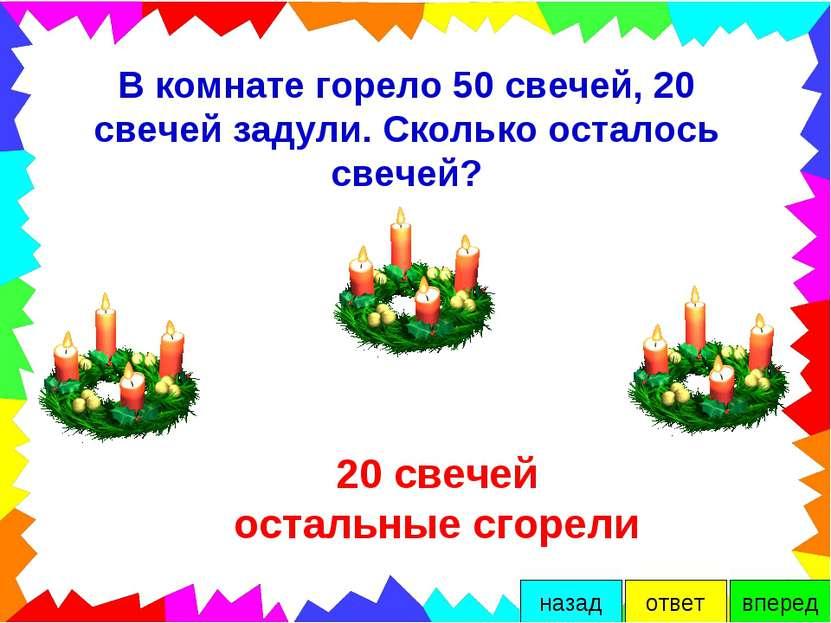В комнате горело 50 свечей, 20 свечей задули. Сколько осталось свечей? 20 све...