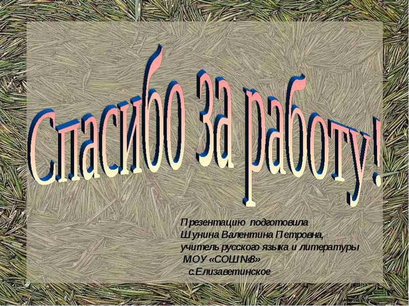 Презентацию подготовила Шунина Валентина Петровна, учитель русского языка и л...