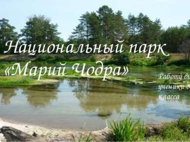 Национальный парк «Марий Чодра» Работу выполнили ученики 8-го класса