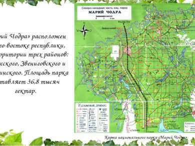 «Марий Чодра» расположен на юго-востоке республики, на территории трех районо...