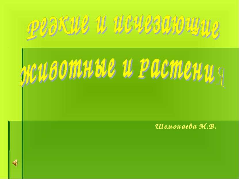 Шемонаева М.В.