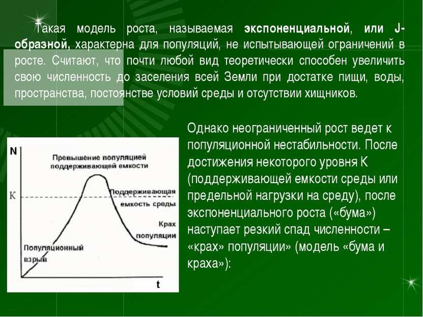 Такая модель роста, называемая экспоненциальной, или J-образной, характерна д...