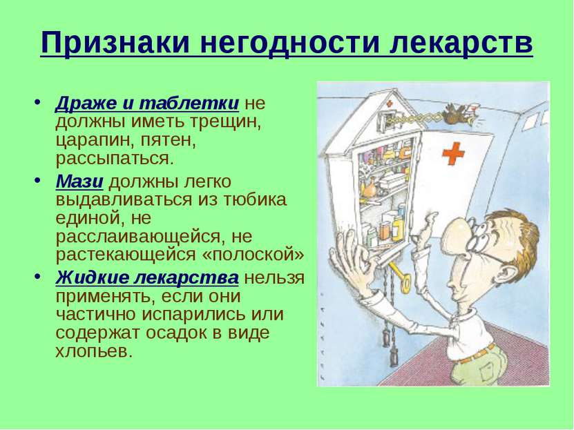 Признаки негодности лекарств Драже и таблетки не должны иметь трещин, царапин...