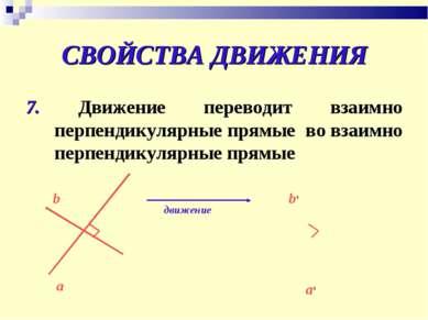 СВОЙСТВА ДВИЖЕНИЯ 7. Движение переводит взаимно перпендикулярные прямые во вз...