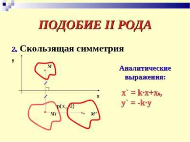 ПОДОБИЕ II РОДА 2. Скользящая симметрия x y М М1 М' Аналитические выражения: ...