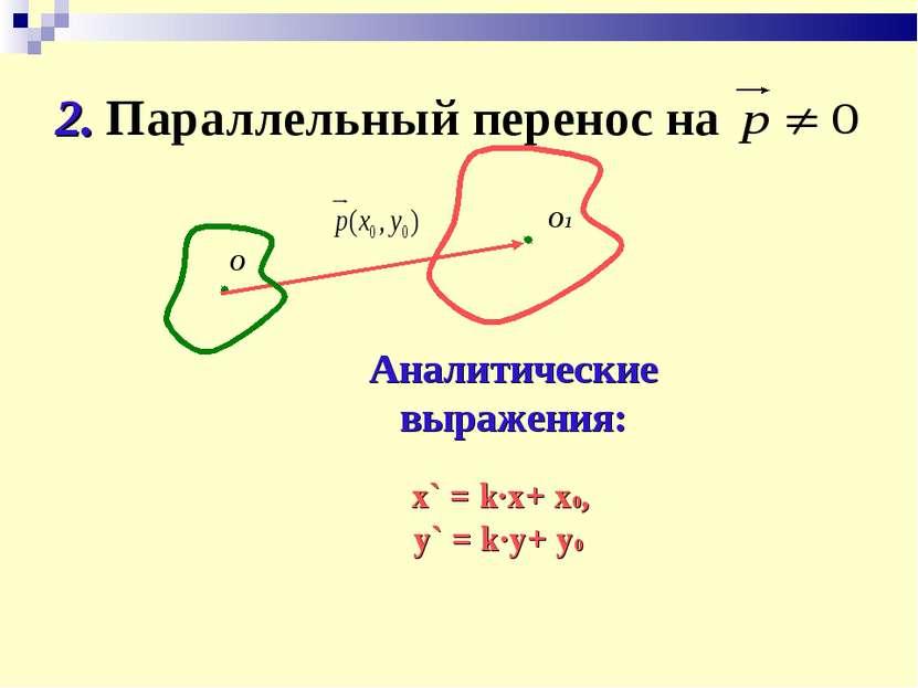2. Параллельный перенос на О О1 Аналитические выражения: x` = k∙x+ x0, y` = k...