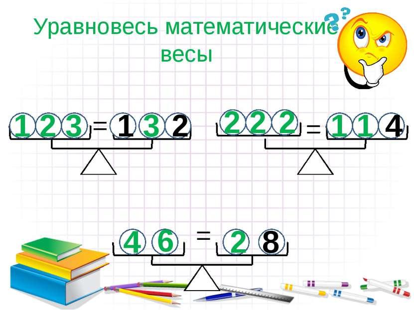 Уравновесь математические весы 1 2 3 3 2 2 2 1 1 6 4 2 1 2 4 8