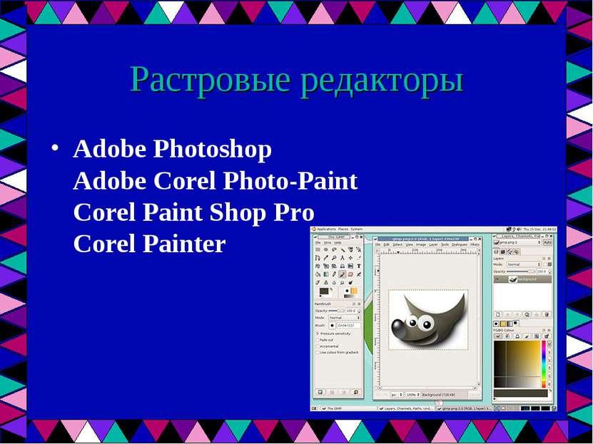 Растровые редакторы Adobe Photoshop Adobe Corel Photo-Paint Corel Paint Shop ...