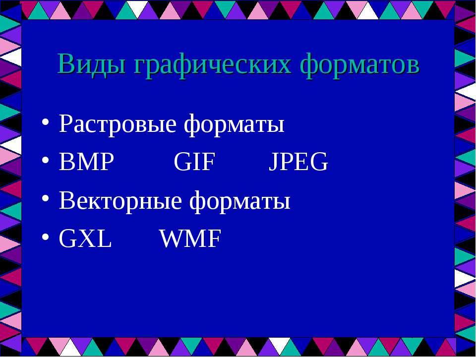 Виды графических форматов Растровые форматы BMP GIF JPEG Векторные форматы GX...
