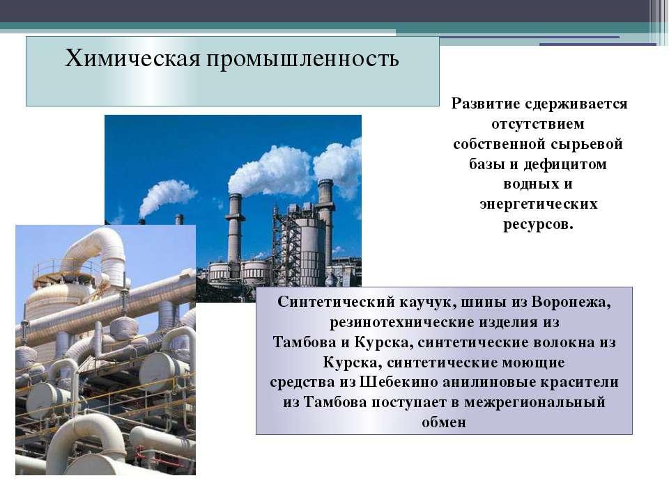Химическая промышленность Развитие сдерживается отсутствием собственной сырье...