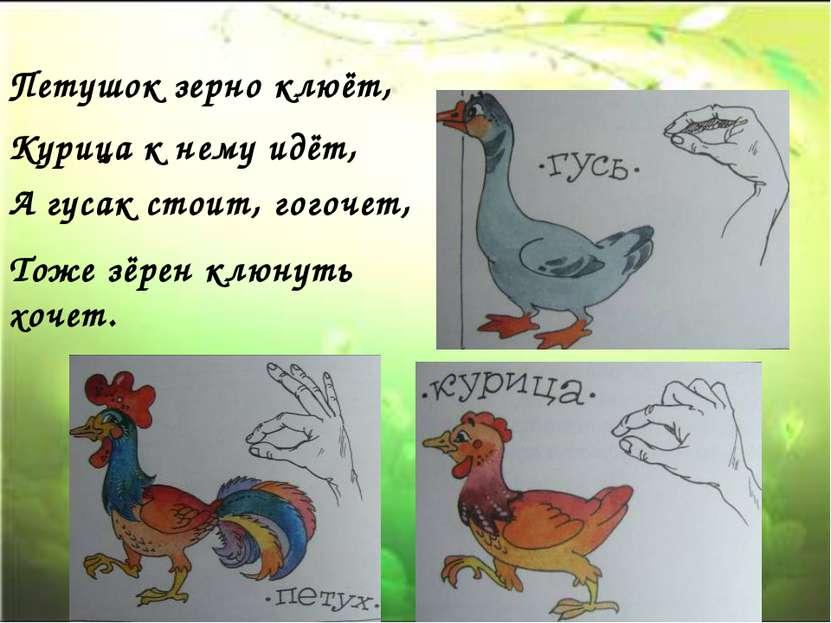 Петушок зерно клюёт, Курица к нему идёт, А гусак стоит, гогочет, Тоже зёрен к...