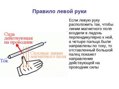 Правило левой руки Если левую руку расположить так, чтобы линии магнитного по...