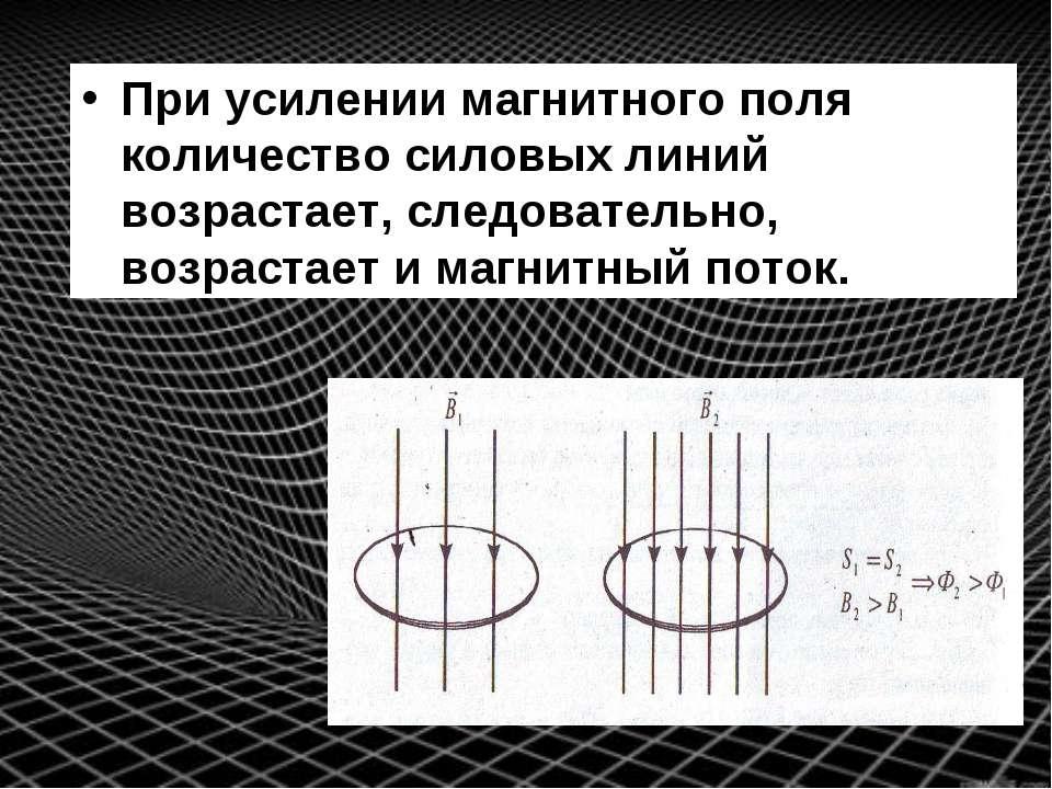 При усилении магнитного поля количество силовых линий возрастает, следователь...
