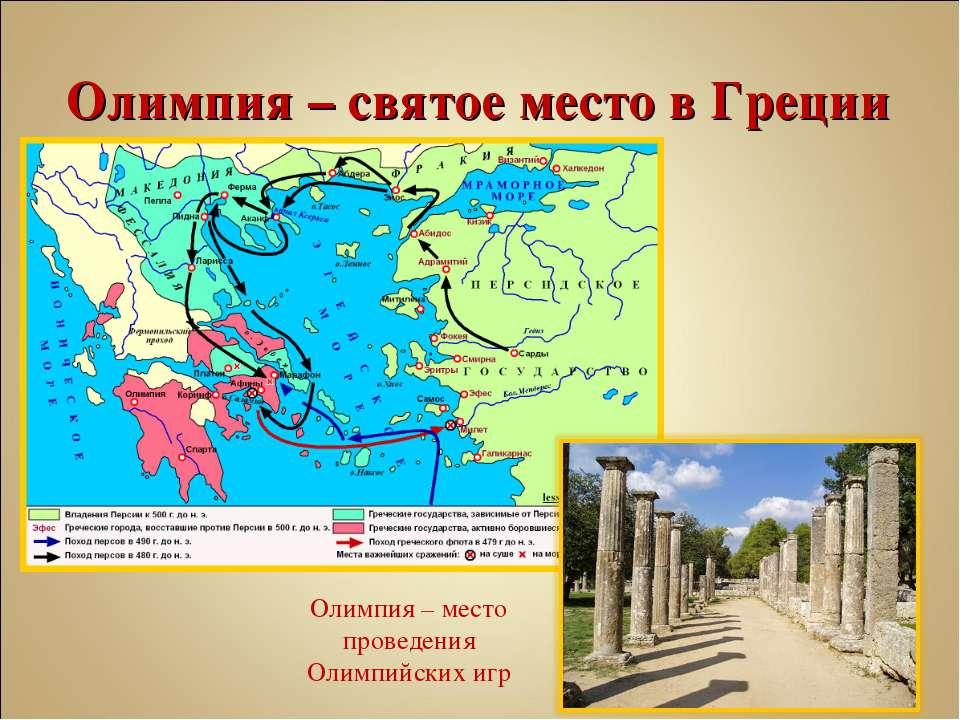 Олимпия – святое место в Греции Олимпия – место проведения Олимпийских игр