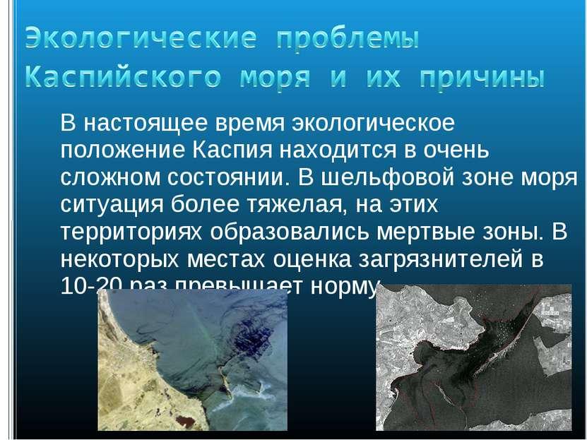 В настоящее время экологическое положение Каспия находится в очень сложном со...