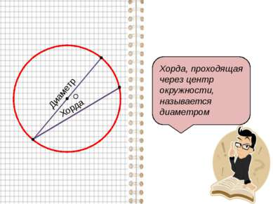 Хорда Хорда, проходящая через центр окружности, называется диаметром О Диаметр