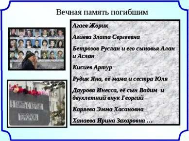 Вечная память погибшим Агаев Жорик Азиева Злата Сергеевна Бетрозов Руслан и е...