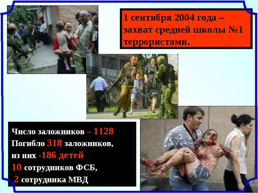1 сентября 2004 года – захват средней школы №1 террористами. Число заложников...