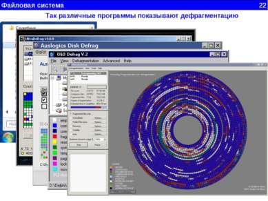 Файловая система 22 Так различные программы показывают дефрагментацию
