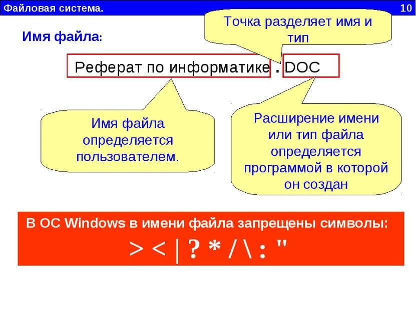 Файловая система. 10 Имя файла: Реферат по информатике . DOC Имя файла опреде...