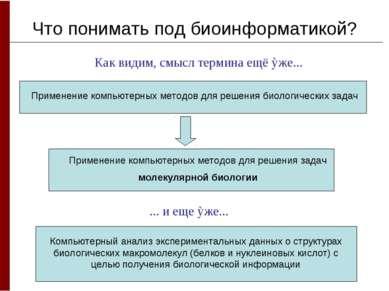 Что понимать под биоинформатикой? Как видим, смысл термина ещё ỳже... Примене...
