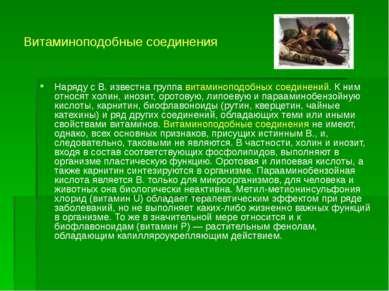 Витаминоподобные соединения Наряду с В. известна группа витаминоподобных соед...