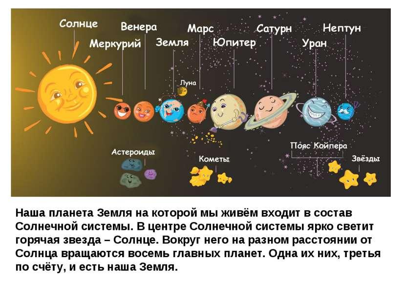 Наша планета Земля на которой мы живём входит в состав Солнечной системы. В ц...