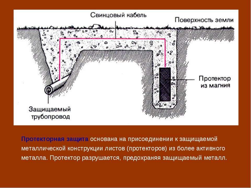 Протекторная защита основана на присоединении к защищаемой металлической конс...