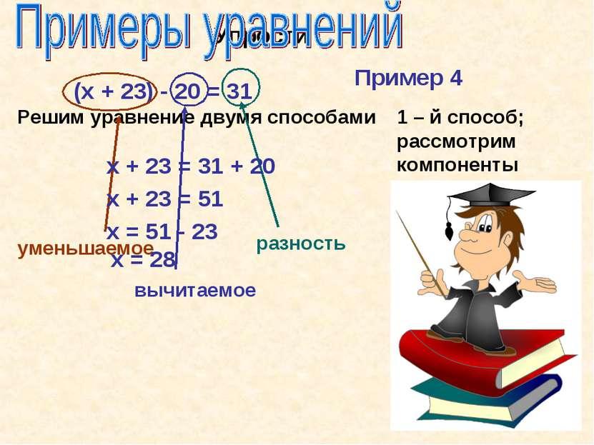 Упрости (х + 23) - 20 = 31 Решим уравнение двумя способами Пример 4 1 – й спо...