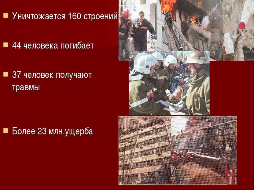 Уничтожается 160 строений 44 человека погибает 37 человек получают травмы Бол...