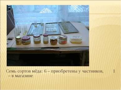 Семь сортов мёда: 6 – приобретены у частников, 1 – в магазине