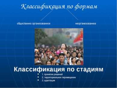 Классификация по формам общественно организованное неорганизованное Классифик...