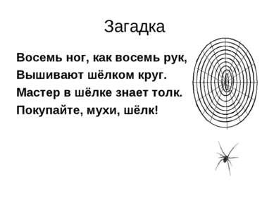 Загадка Восемь ног, как восемь рук, Вышивают шёлком круг. Мастер в шёлке знае...