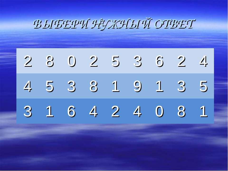 ВЫБЕРИ НУЖНЫЙ ОТВЕТ 2 8 0 2 5 3 6 2 4 4 5 3 8 1 9 1 3 5 3 1 6 4 2 4 0 8 1