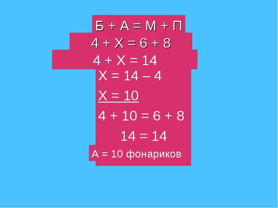 Б + А = М + П 4 + Х = 6 + 8 4 + Х = 14 Х = 14 – 4 Х = 10 4 + 10 = 6 + 8 14 = ...