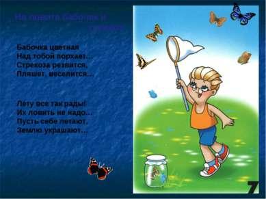Не ловите бабочек и стрекоз Бабочка цветная Над тобой порхает… Стрекоза резви...