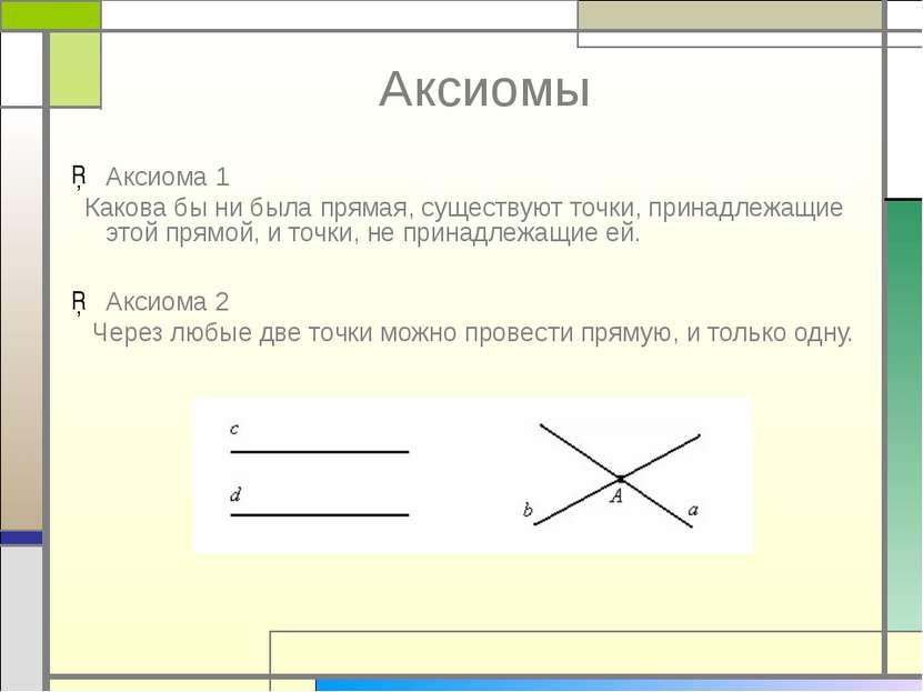 Аксиомы Аксиома 1 Какова бы ни была прямая, существуют точки, принадлежащие э...