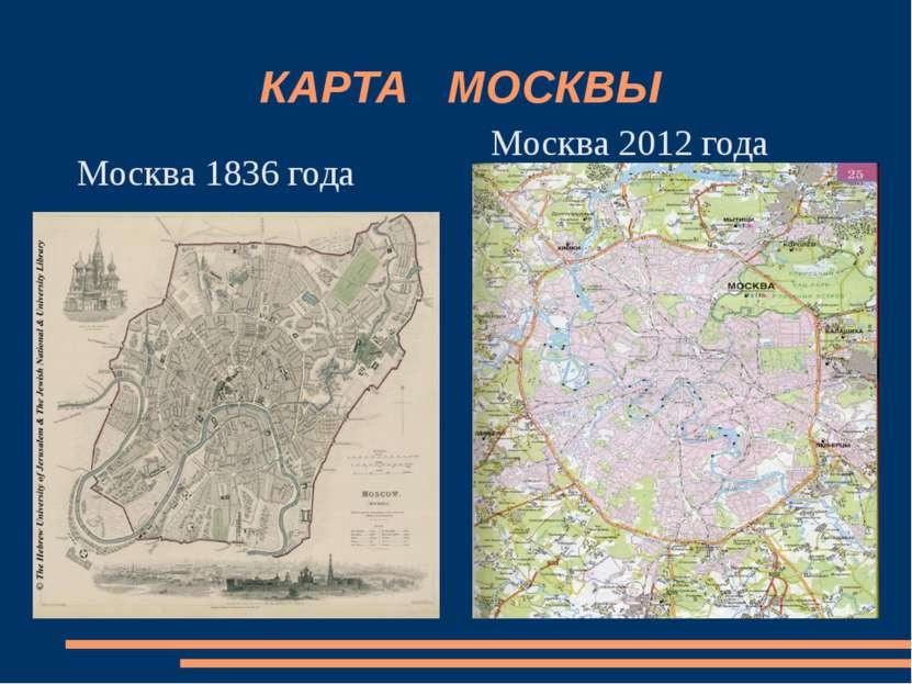 КАРТА МОСКВЫ Москва 1836 года Москва 2012 года