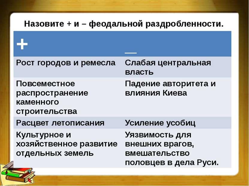 Назовите + и – феодальной раздробленности. + _ Рост городов и ремесла Слабаяц...