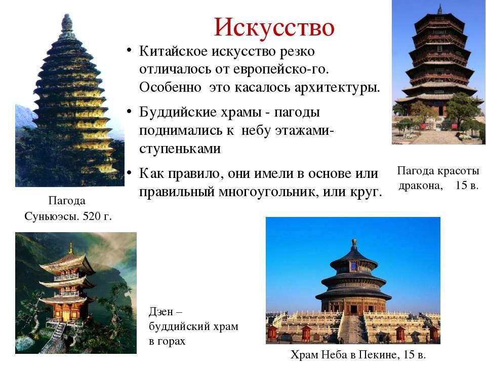 Искусство Китайское искусство резко отличалось от европейско-го. Особенно это...