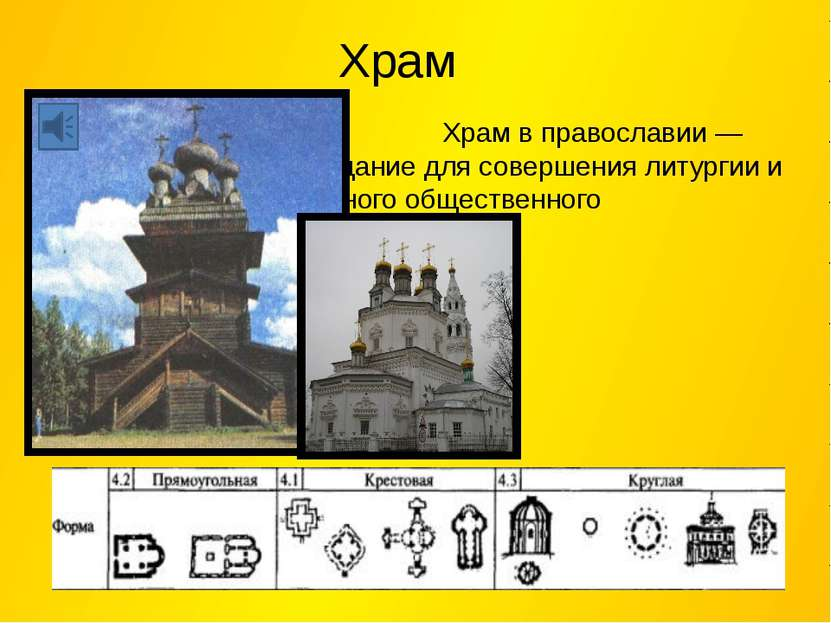 Храм Храм в православии — здание для совершения литургии и иного общественног...