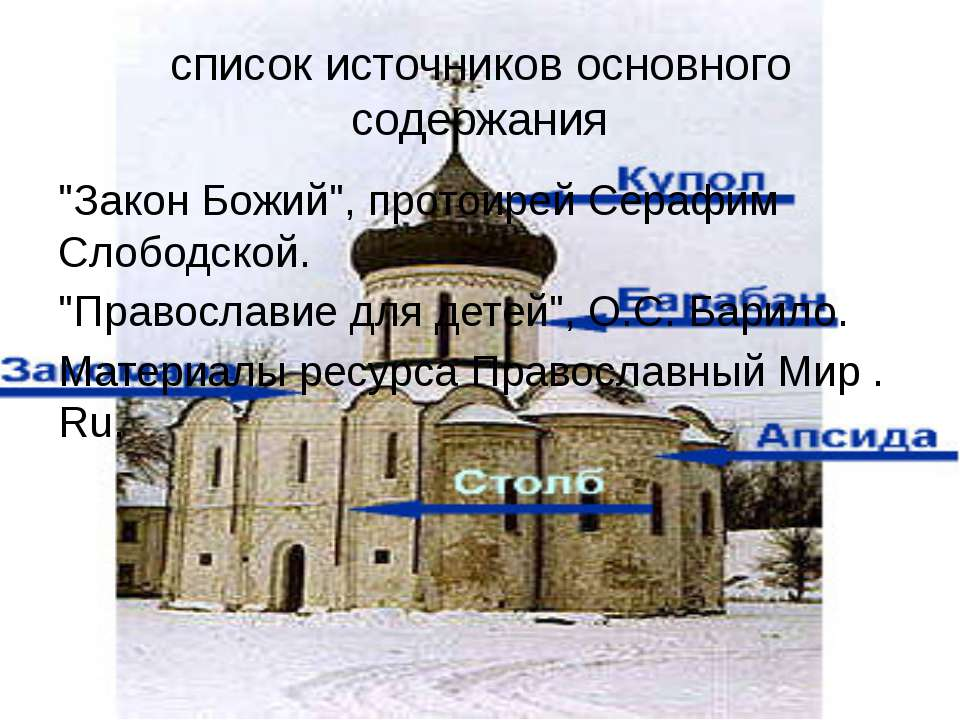"""список источников основного содержания """"Закон Божий"""", протоирей Серафим Слобо..."""