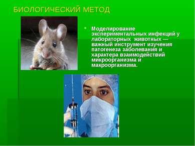 БИОЛОГИЧЕСКИЙ МЕТОД Моделирование экспериментальных инфекций у лабораторных ж...